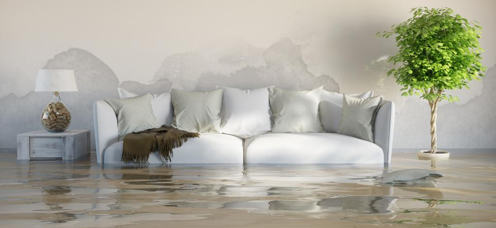 White sofa in flooded living room